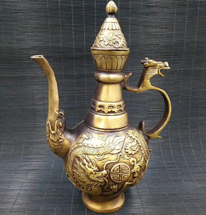 Collection archaize laiton Dragon phoenix vin pot artisanat statue