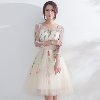 Women Short Party Dress Elegant Embroidery Tulle Prom Dresses