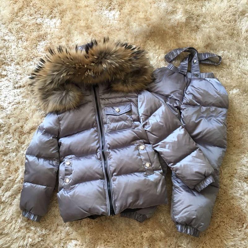 Russian Real Fur Warm Children Clothing Sets Girls Winter Down Coat Boys Jacket Children's Snowsuit Kids Outdoor Ski suit