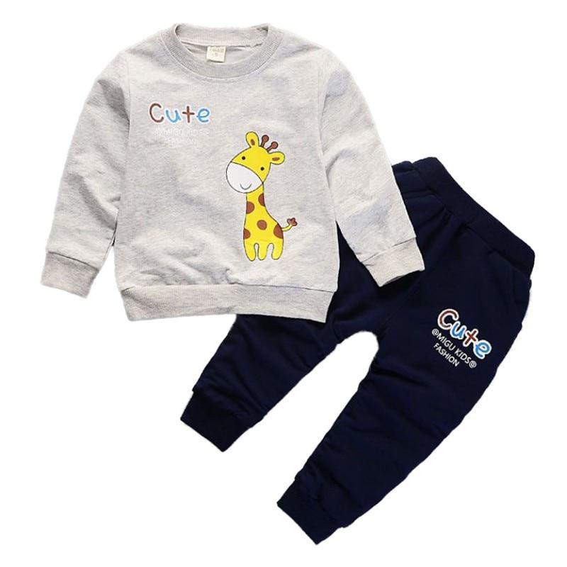 Осенняя одежда для маленьких девочек Жираф одежда с героями мультфильмов комплект 2 шт. От 0 до 5 лет Детская одежда для мальчиков одежда с дл...
