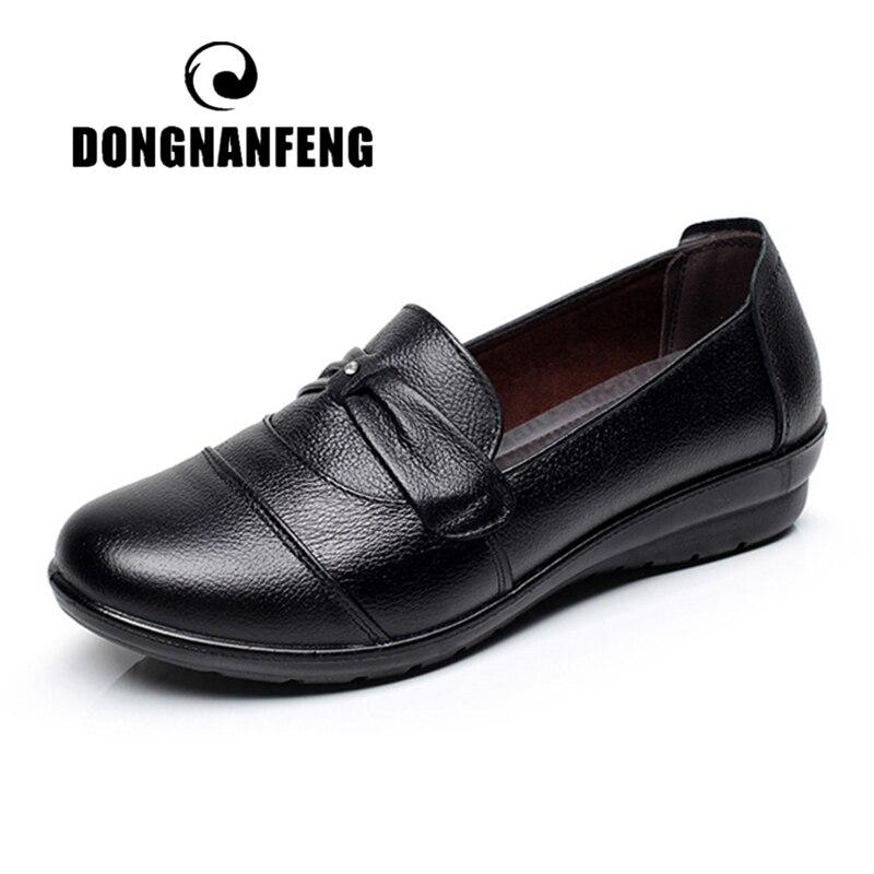 DONGNANFENG/Женская обувь в старом стиле; лоферы на плоской подошве; Повседневная обувь для мамы; нескользящая обувь из натуральной коровьей кожи...