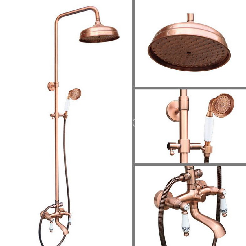 Vintage Antique Red Copper Wall Mounted Bathroom 8 inch Round Rain Shower Faucet Set Dual Ceramic Handle Tub Mixer Tap arg544