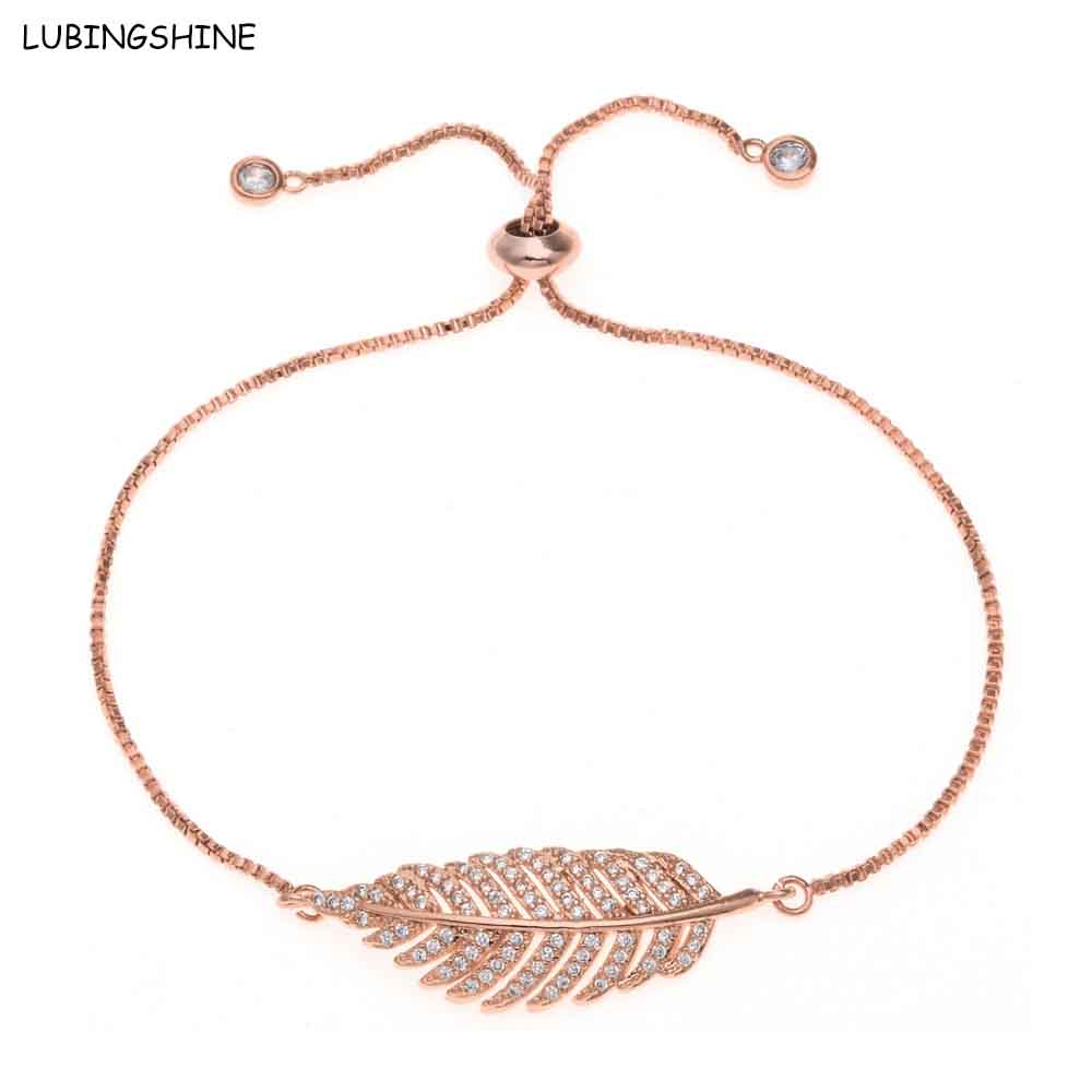LUBINGSHINE Leaf Bracelets&Bangles Luxury Fashion Adjustable Shiny AAA CZ Stone Adjustable Link Chain Bracelet Women Jewelry