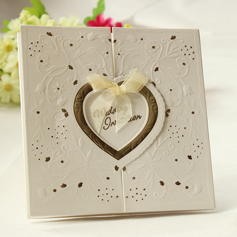Set of 200 embossed gold interlocking heart ivory wedding for 200 wedding invitations cost