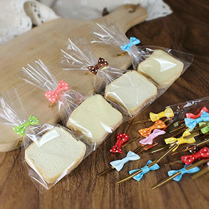 Popular  100Pcs Transparent Plastic Bags Candy Lollipop Cookies Packaging Bag Cellophane Wedding Baby Shower
