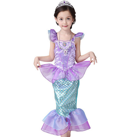 Ariel dress Little Mermaid Fancy Kids Girls Dresses Princess Ariel  Cosplay Halloween Costume ankle-length puff sleeve dress вечернее платье mermaid dress vestido noiva 2015 w006 elie saab evening dress