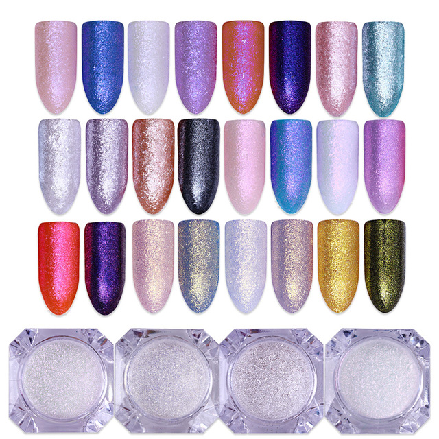 4 Box Set Diamond Pearl Mermaid Mirror Powder Silver Gold Purple Pink Color Shining Dust