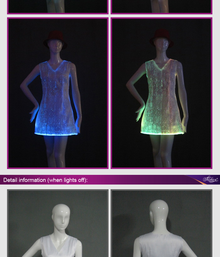 17 fiber optical LED dress women costume luminous clothing Carnival costume luminous dress free shipping 3