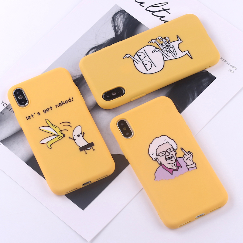 Memes Cartoon Finger Lustige Banana Weiche Silikon Candy Telefon Fall Capa Fundas Coque Für <font><b>iPhone</b></font> 11 6 8 8Plus X XS Max 7 7Plus XR image