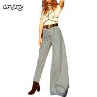 Jeans Women 2019 New Street Style Women's Flare Pants Fashion Joker Solid Color High Waist Asymmetric Slim Jeans Size S M L
