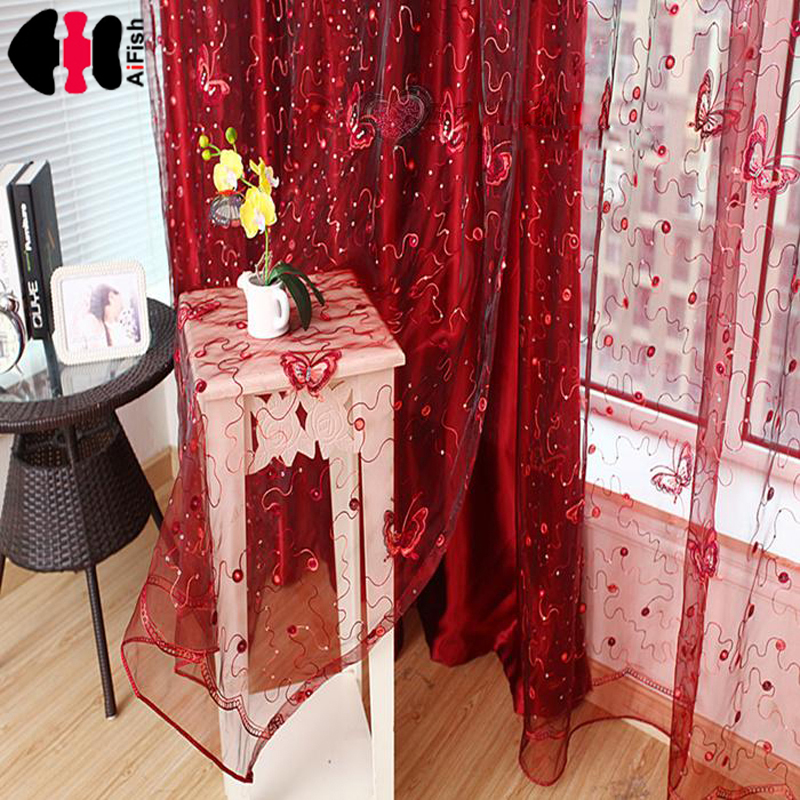 Butterfly Curtains Tulle Rlinds Rainbow Red Voile Cafe Lace Curtain Tulle Sequin Curtains Kids Curtain 3D Butterfly WP344B