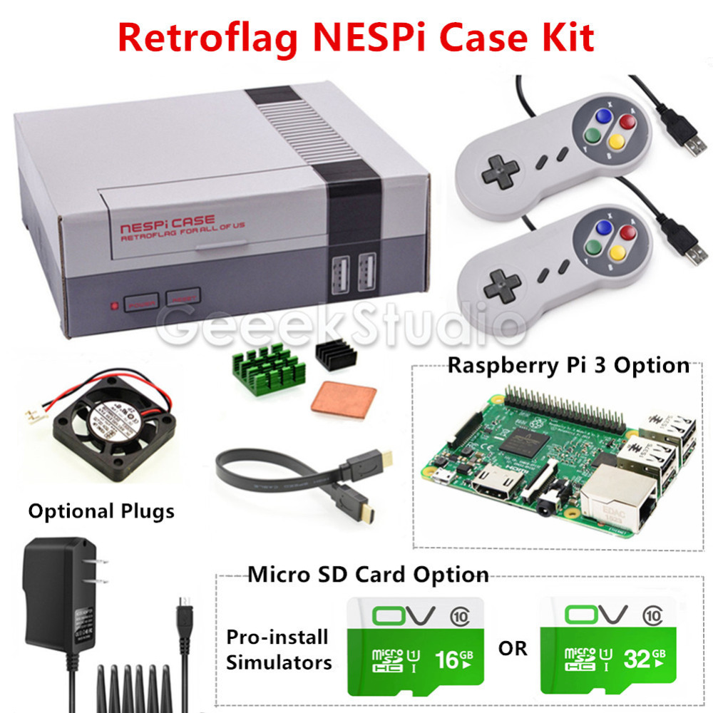 NESPi Case Retroflag Kit with Cooling Fan+2 Pcs SNES Controllers+Optional 16G/32G Micro SD Card+Optional Raspberry Pi 3 Board computador cooling fan replacement for msi twin frozr ii r7770 hd 7770 n460 n560 gtx graphics video card fans pld08010s12hh