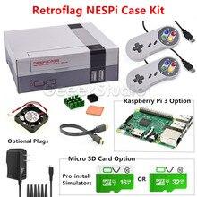 NESPi Durumda Soğutma Fanı ile Retroflag Kiti + 2 Adet SNES Kontrolörleri + Opsiyonel 16G/32G Mikro SD Kart + Opsiyonel Ahududu Pi 3 Kurulu