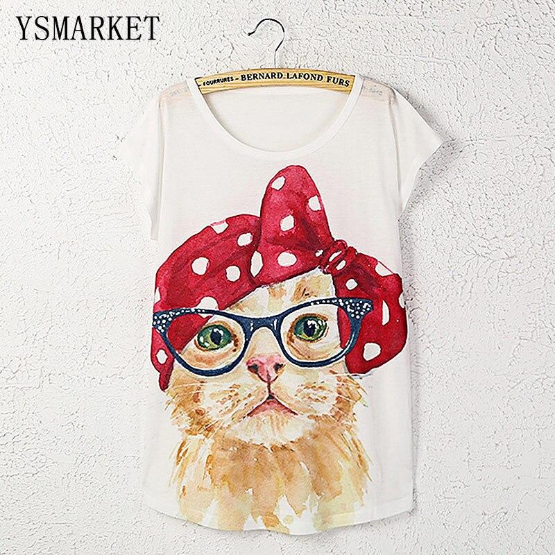 Новый летний сладкий белый кот печати топы для девочек короткий рукав свободные kawaii одежда стильная Повседневное милые Для женщин Футболка...