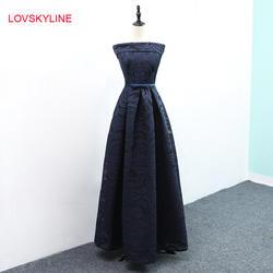 Платья невесты 2018 Новый Лодка шеи Кружева Темно-синие черный вышивка Кепки рукава