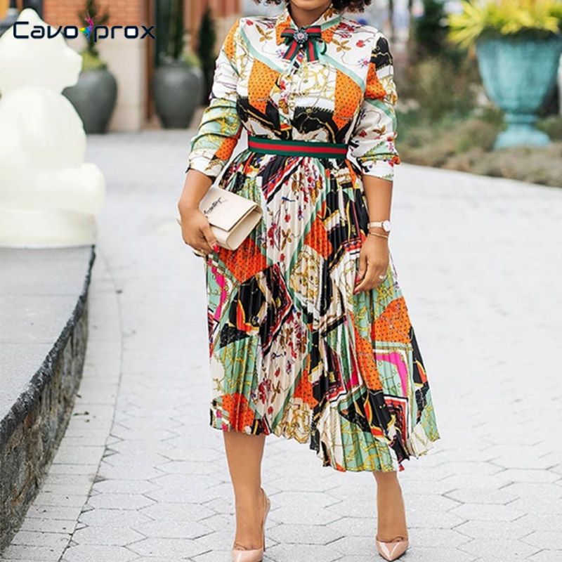 Women Retro Chain Printed Pleated Long Sleeve Turn Down Collar Dress Bow Design Office Lady Elegant Spring Fall Mid Calf Dress