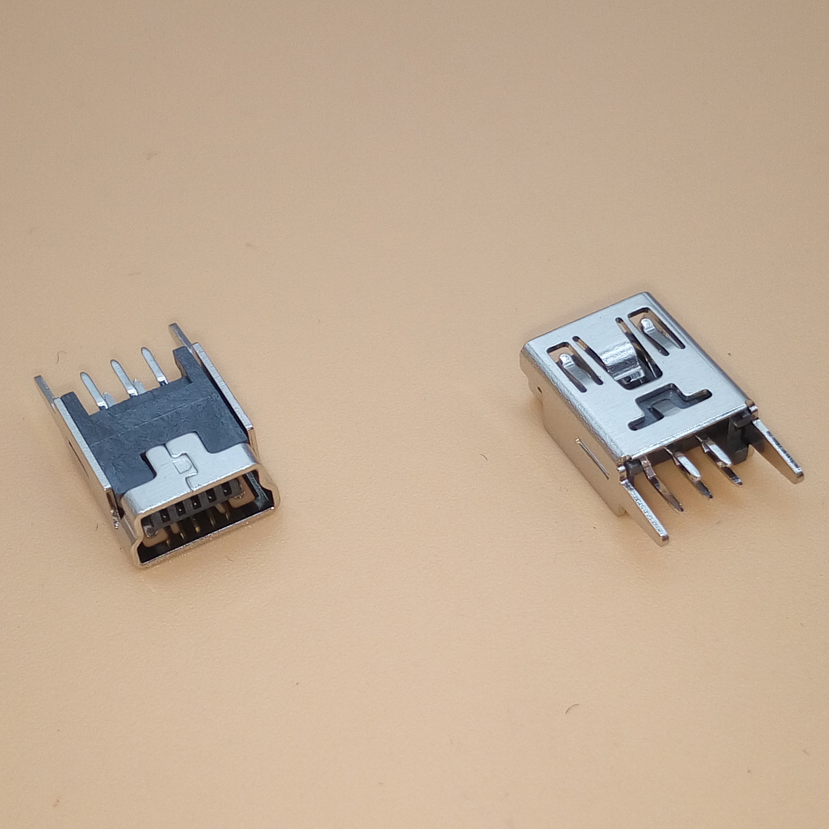 10Pcs Mini USB Female 5 Pin Type B Right Angle PCB Socket Connector 2 Legs RS