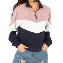 ZOGAA Women Hoodie Top Multicolor Casual Zip Half Placket Color Block Stand Collar Long Sleeve 2018 Campus Sweatshirts недорого