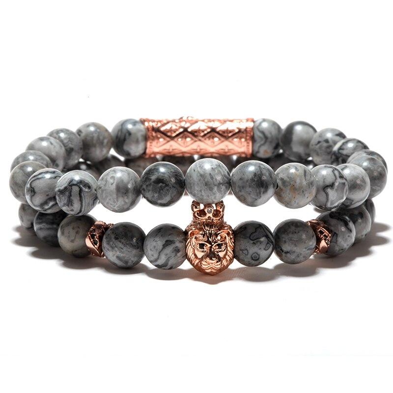 Männer Armband/naturstein/armband Lion Armbänder Set Edelstahl Spacer Wünschen 8mm Stein Perlen Charms Armbänder für Frauen