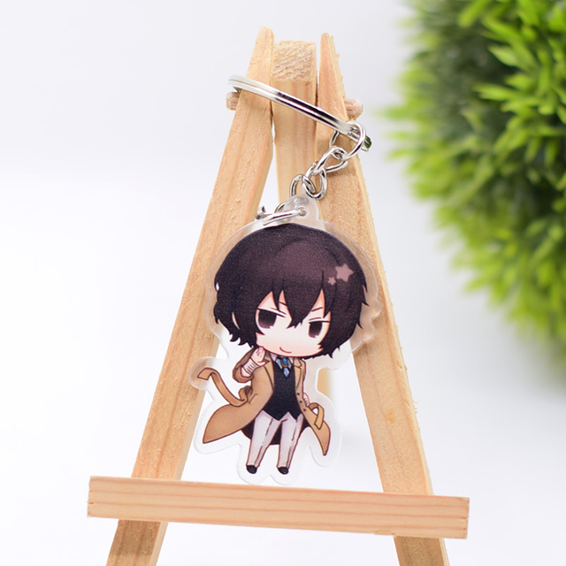 2019 Bungo Stray Dogs Keychain Double Sided Key Chain Acrylic Pendant Anime Accessories Cartoon Key Ring 2