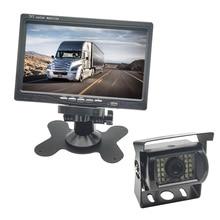 Auto Sensor de Aparcamiento 7.0 Pulgadas Digital TFT LCD Monitor Del Coche + 1x Cámara de Marcha Atrás, 24 LED de Visión Nocturna Luces DC12V-24 V