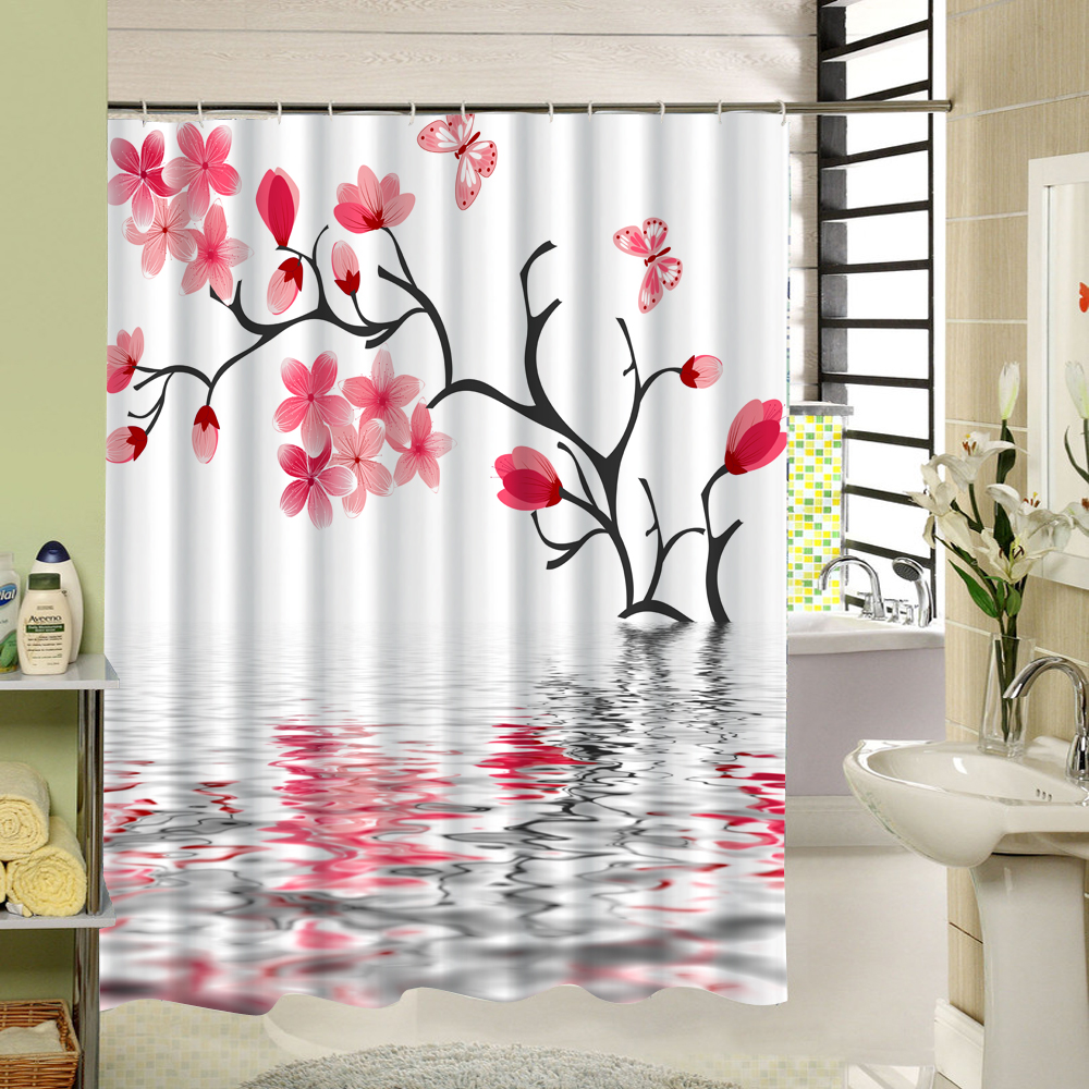 The Beautifui Scenic That Chinese Style Pink Peach Bossom and Her Shadow Reflected In Water Waterproof Fabric Shower Curtain