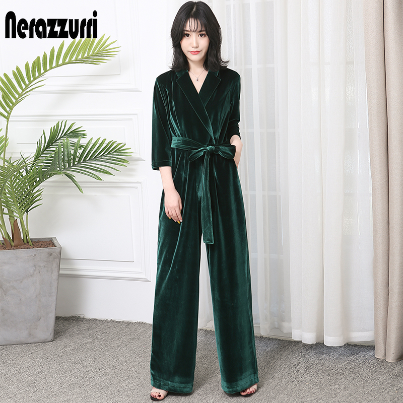 Nerazzurri Long Velvet Jumpsuit With Sleeves For Women 2019 Elegant Red Black Plus Size Wide Leg Sashes Maxi Floor Length Romper
