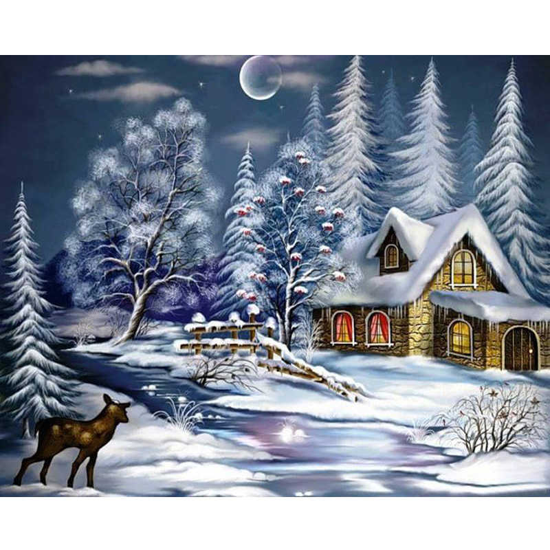 Dropshipping 50x65 60x75cm Malerei Durch Zahlen DIY schnee Haus Landschaft Wand Kunst Bild Acryl Malerei für Hochzeit Dekoration