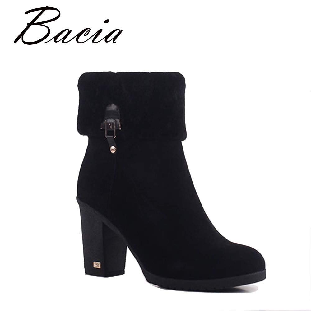 Bacia Sheep Suede Ankle Boots Fashion Round Toe Thick Heel Women Boots High Heel Genuine Leather Wool Fur Sexy Lady Boots SA068 salu winter fashion sheep suede boots classic ankle shoes genuine leather wool fur warm square high heel women boots
