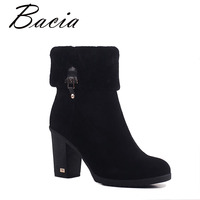 Bacia Sheep Suede Ankle Boots Fashion Square Toe Thick Heel Women Boots High Heel Genuine Leather