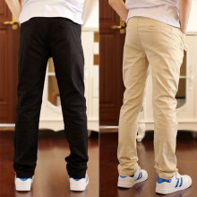 4-18T Boys Casual Solid 100% Cotton Straight Pants For Elastic Waist Children Trousers 110-180 High Quality