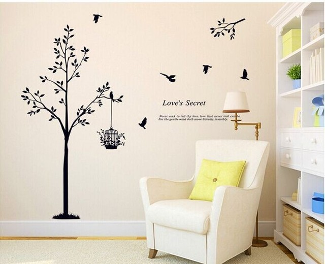 165*150cm(65*59inch) Black tree Bird Cage Vinyl Wall Decals For Living Room/Bedroom Wall Stickers Home Decoration Wallpapers 5