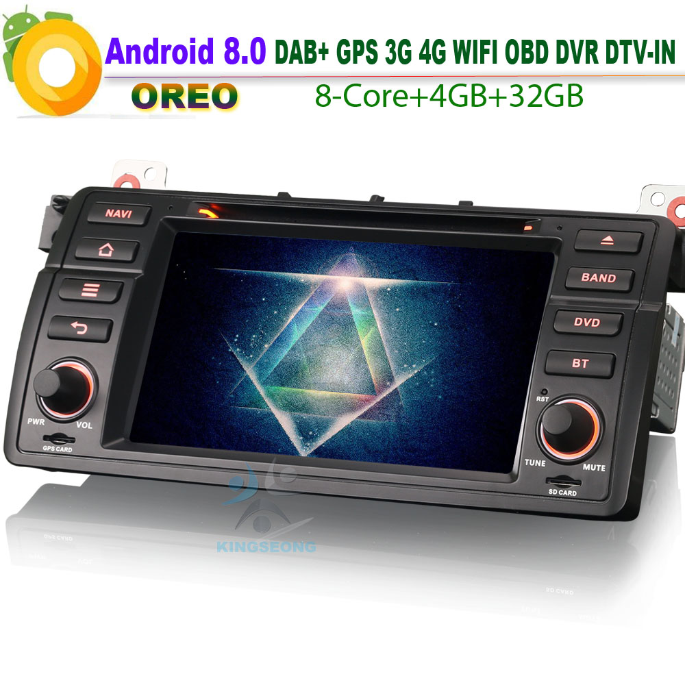 DAB+ Android 8.0 Autoradio Sat Navi GPS TNT IN Wifi OBD Radio DVD SD RDS BT Car GPS Navigation For BMW 3er E46 Rover 75 MG ZT M3