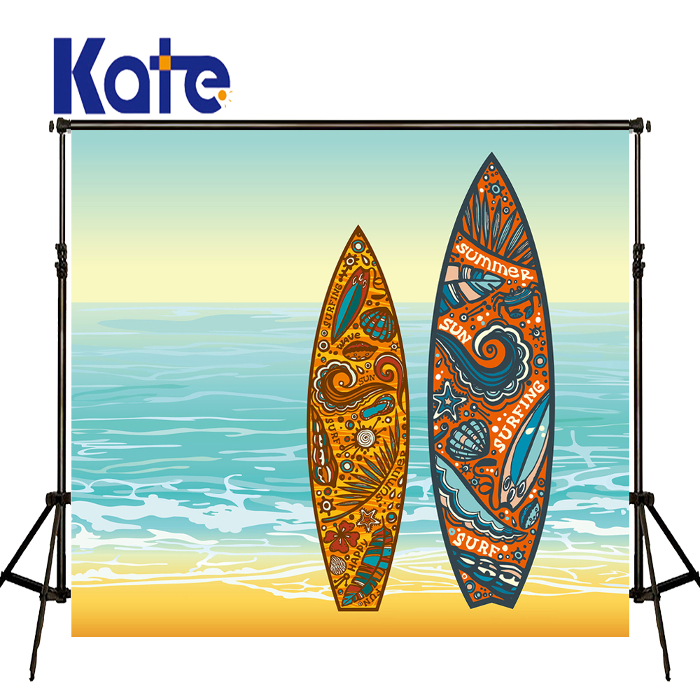 KATE 5x7ft Phtography Backdrop Cartoon Beach Backdrop Blue Sea Background Pattern Surfboard Children Backdrops for Photo Studio kate photo backdrop beach baby