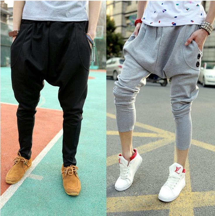 Male HIPHOP Low Drop Crotch Pants Men Hip Hop Sarouel Men Jogger Pants Baggy Trousers Loose Pantalon Harem Pants Size M-2XL