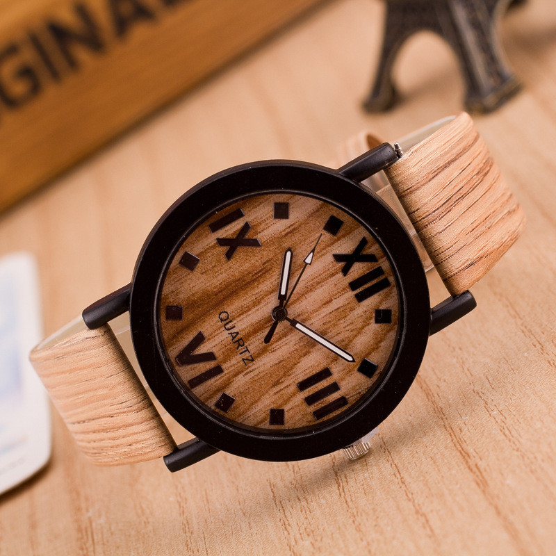 2018 top luxury brand mens PU Leather Band Wood Wrist Watches 16