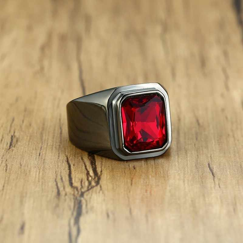 Vantage preto aço inoxidável masculino signet anel quadrado vermelho zircon pedra festa marcas moda masculino clássico jóias
