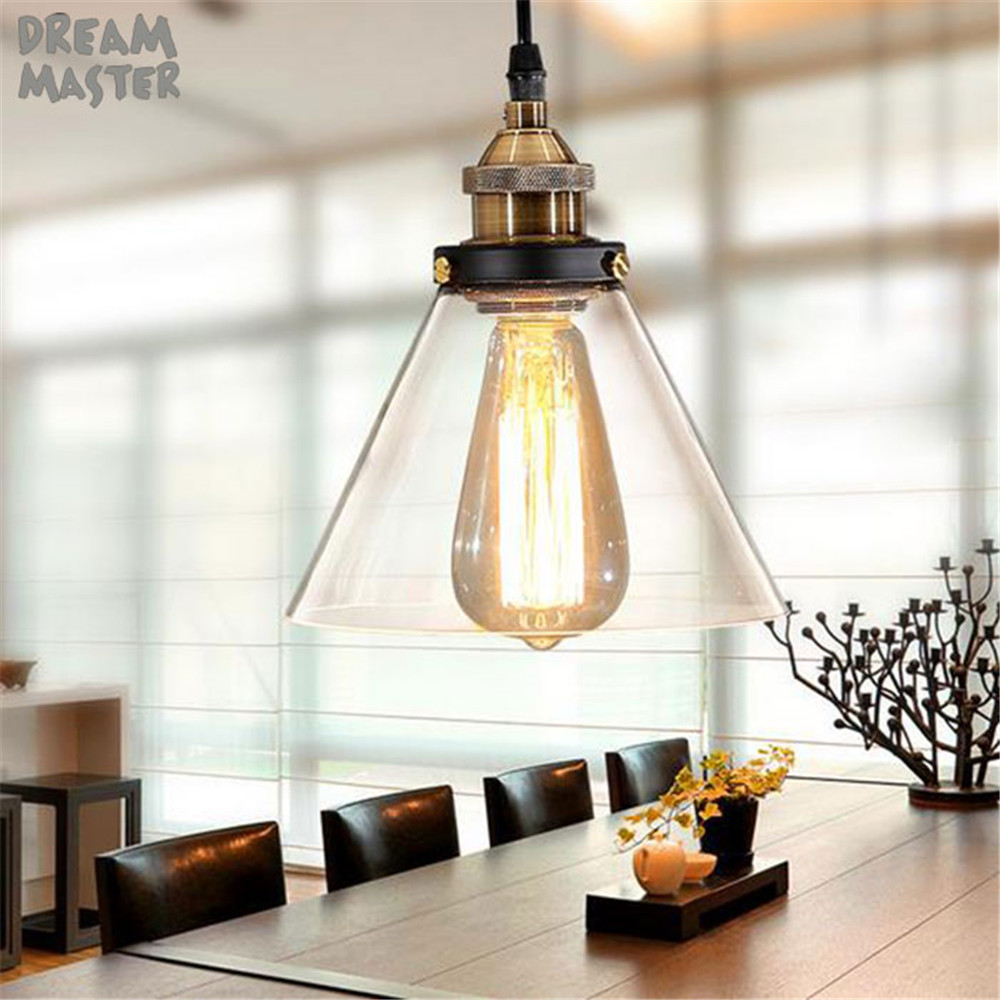 Vintage Clear Glass chandelier Light Edison bulb Hanging Lamps Light Bulbs For Home Decor Restaurant lamp With Light Bulb new simple clear crystal pendant light led hanging lampsindoor light home for home decor restaurant luminarias ce fcc vallkin