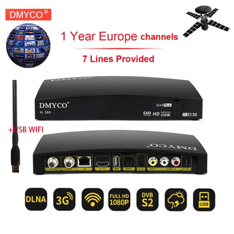 1 an espagne Europe chaînes hd récepteur satellite D4S plus DVB-S2 tuner tv 1080 P H.265 décodeur Wifi BissKey Youtube + USB WIFI