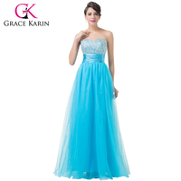 Grace Karin Evening Dress Long Tulle Sexy Sweetheart Beadings Sequins Formal Ball Gown Pink Dark Turquoise Evening Dresses 2018