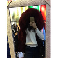 Thick warm wine red fur lining waistcoat racoon fur big collar Sleeveless Vest coats Mrs furs jacket