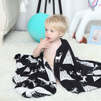 Baby Blanket 100 Cotton 75 100cm Black White Cute Knitted Blanket For Bed Sofa Kids Bath