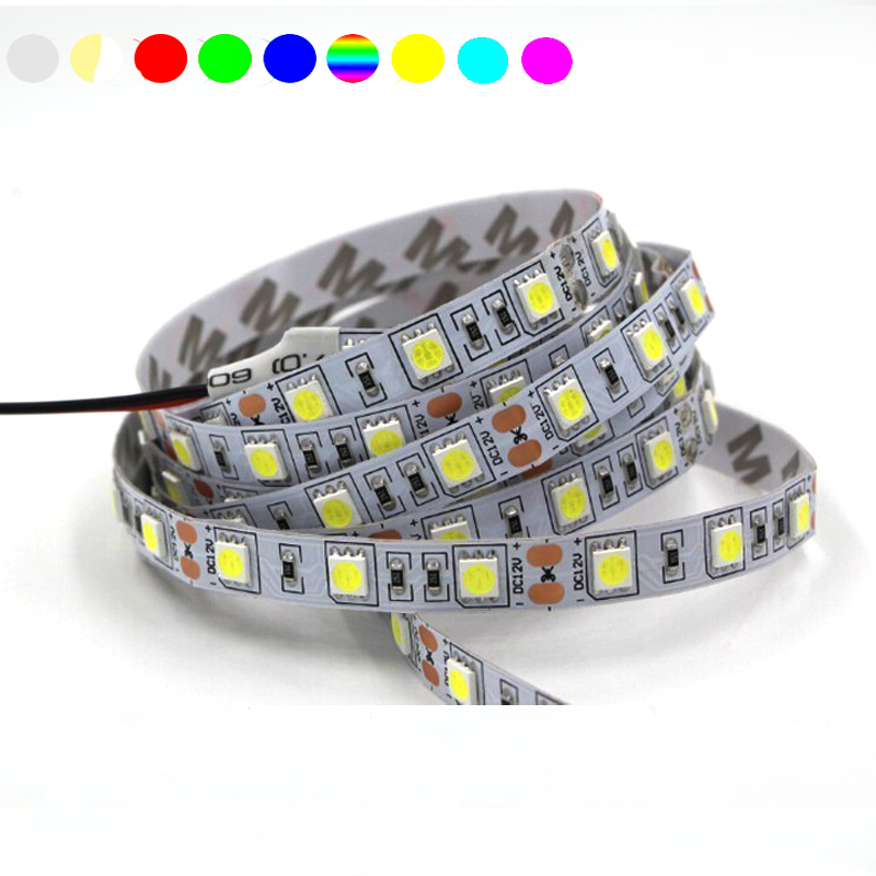 led lamp 12V 5050 SMD LED Strip light 60 LED/m Flexible waterproof Fita Ribbon 3M RGB Tape Car lamp 1/2/3/4/5/10M white pink b8 5 smd 5050 0 3w 12lm white light car instrument lamp white dc 12v 2 pcs