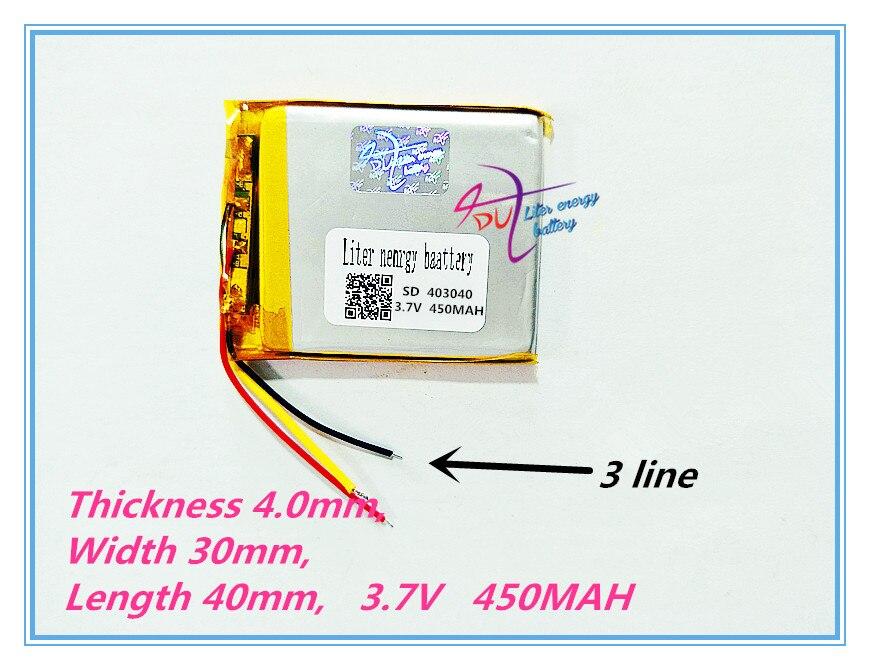 3 line Polymer battery 403040 450mah 3.7 V smart home MP3 speakers Li-ion battery for dvr,GPS,mp3,mp4,cell phone,speaker
