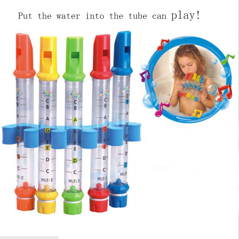5pcs Lot Row Kids Children Colorful Water Flutes Bath Tub