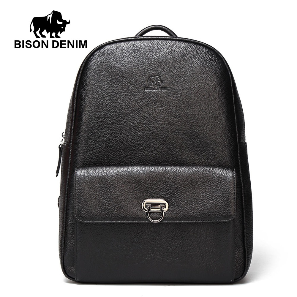 BISON DENIM Genuine Leather Male Backpack Casual Travel Daypack Laptop Backpack For College Cowskin Fashion Male Mochila N2526 2018 bison denim genuine leather laptop backpack male casual backpack travel backpack male fashion backpack schoolbag for men