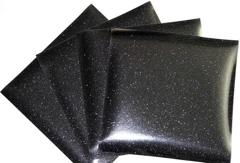 (A4*8 Pcs) Glitter Black Color Cuttable Pu Flex Vinyl A4 Size 20