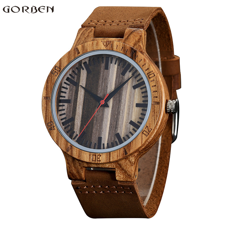 GORBEN Mens Watch Wooden Sculpture Watches Round Dial Leather Band Natural Bamboo Analog Quartz Watch Gifts for Men Wristwatch gt w5373 men s round dial pu band analog quartz watch