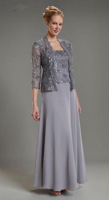 Vestido de madrinha 2016 Plus Size Elegante Cinza de Três Quartos Mangas Chiffon de Duas Peças Wide-cintura Mãe do vestidos de noiva