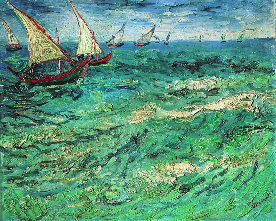 New Van Gogh Sea Sailing Scenery Needlework,For Embroidery,DIY DMC 14CT Unprinted Cross Stitch Kits Cross-Stitching Decor Crafts